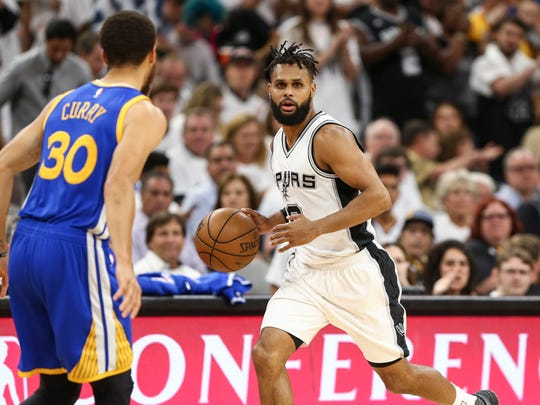 San Antonio Spurs guard Patty Mills (8), shown against Golden State during the Western Conference finals, is a possible Pacers free agent target. He averaged 9.5 points and 3.5 assists in 21.9 minutes last season.