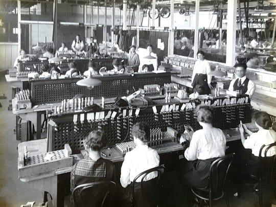 Women inspect munitions at the International Arms & Fuze factory in Bloomfield in this undated photograph from the Historical Society of Bloomfield.