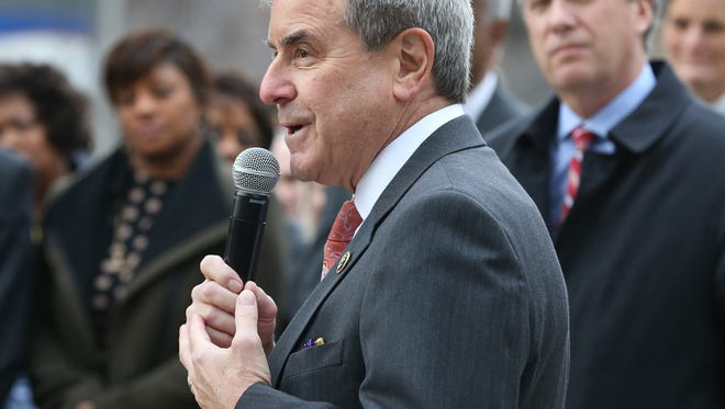 Congressman John Yarmuth spoke at a brief memorial service for Georgia Powers at Fifth and Jefferson on February 1, 2016