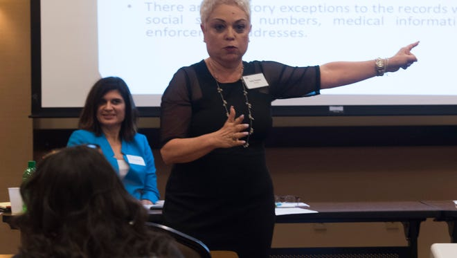 """Former Judge Josefina Tamayo gives pointers on how to avoid ethical conflicts of interest during an"""" Ethics in Government"""" workshop at the Hyatt Place at the Pensacola airport Friday, May 11, 2018."""