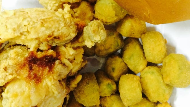A two-piece mixed chicken and okra is under $6 at Mr. Jim's.