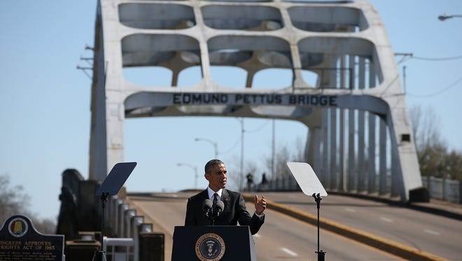 President Obama speaks in front of the Edmund Pettus Bridge on March 7, 2015 in Selma, Ala.