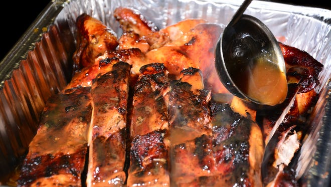A platter of ribs from Jamaican Grill.