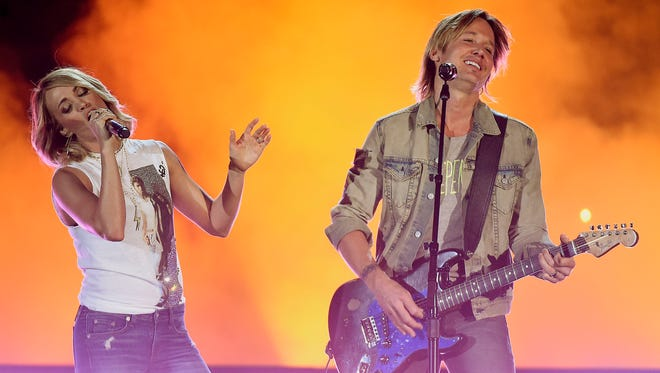 Keith Urban and Carrie Underwood rehearse for their song in the ACM's in the T-Mobile ArenaSaturday April 1, 2017, in Las Vegas, NV