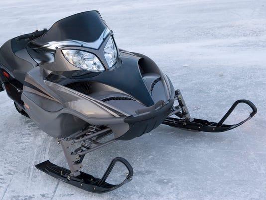 Snowmobile on Lake