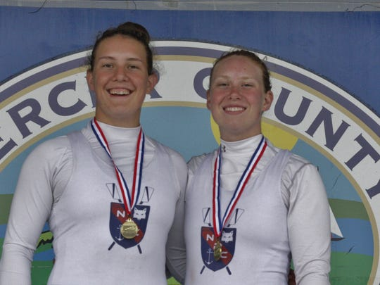Conrad students Rose (left) and Tara Carr won their third straight U.S. Rowing Mid-Atlantic Youth Championship Women's Varsity doubles title recently.