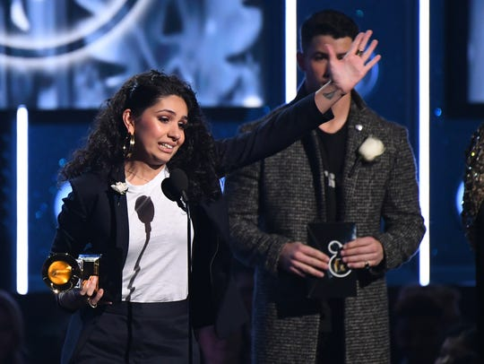 Alessia Cara accepts the award for best new artist