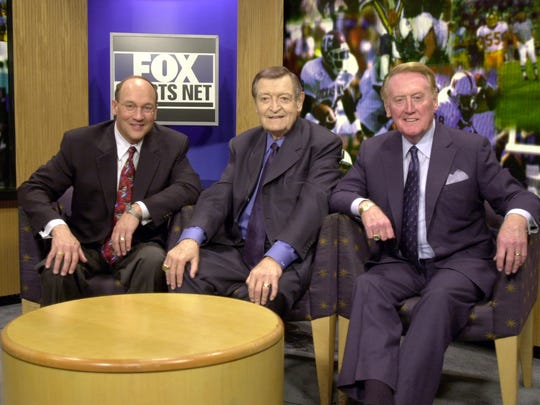 Bob Miller, Chick Hearn and Vin Scully pose during
