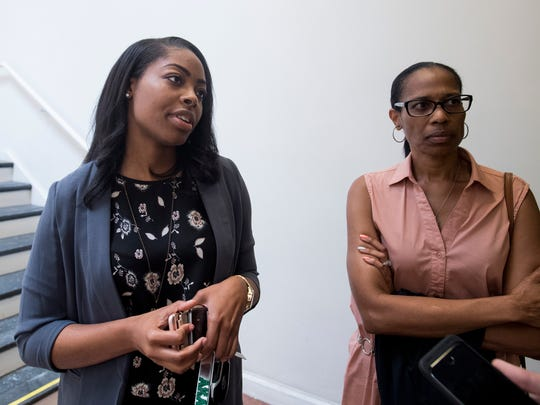Raven Hicks, ex-wife of Tremayne Moorer, and her mother respond to hearing that Moorer's sentence was not being reduced during a hearing at the Montgomery County Courthouse in Montgomery, Ala. on Thursday July 13, 2017.