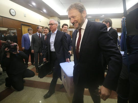 Russian businessman and politician Boris Titov, right,