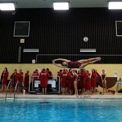 Wauwatosa East Diver Amaya Ibanez-Balder warms up before the start of her teams meet against Wauwatosa West in Wauwatosa East High School Wednesday, Aug 31, 2016, in Wauwatosa, Wisconsin.