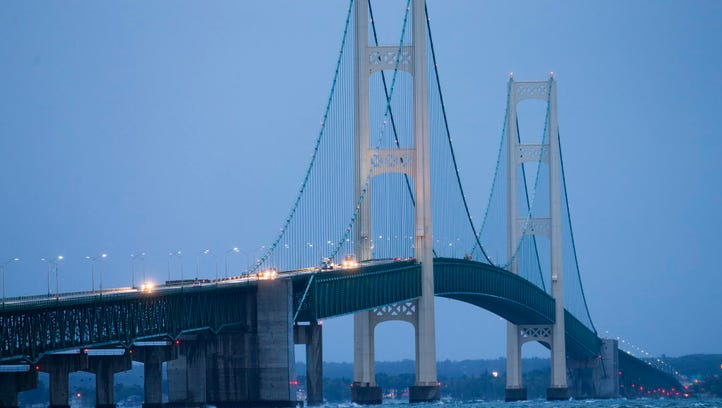 The Mackinac Bridge crosses the Straits of Mackinac,