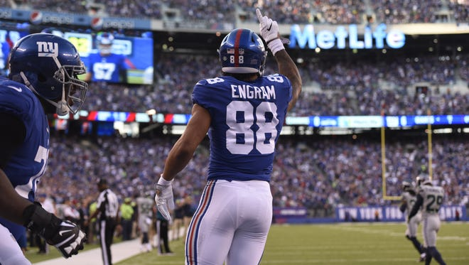 New York Giants tight end Evan Engram (88) celebrates his touchdown in the second quarter. The New York Giants lead the Seattle Seahawks 7-3 at the half on Sunday, October 22, 2017 in East Rutherford, NJ.