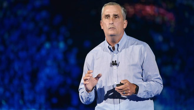 Intel CEO Brian Krzanich speaks during a keynote address at the Monte Carlo Park Theater during CES 2018 in Las Vegas on January 8, 2018.