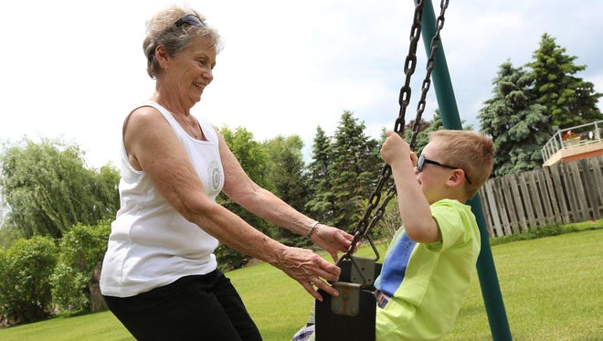 Joyce Esper, 76, of Highland has a life filled with activity and family, including great-grandson Bryson Crammer, 4.