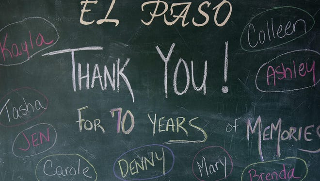 A chalkboard thanks customers for their business at El Paso in St. Joseph.