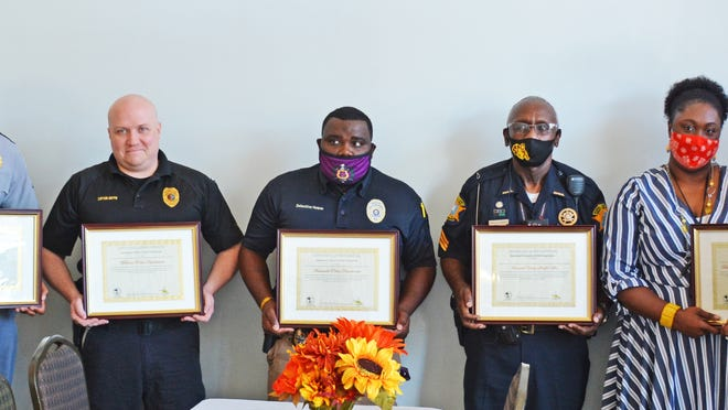 On Sept. 30, the Axis I Center recognized the partnering agencies that were part of the ECHO Coalition for the entire five years. Pictured left to right: Pam Rush of Axis I, Susan Jerkins of S.C. Department of Social Services, Tyler Tidwell of the S.C. Highway Patrol, Jon Griffin of the Williston Police Department, Shawn Howze of the Barnwell Police Department, Donald Danner of the Barnwell County Sheriff's Office, Chelsea Calhoun and Joshua Saxton of Barnwell School District 19, and Jonathan Vickery of The People-Sentinel.