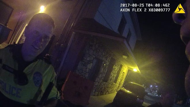 Asheville Police Sgt. Lisa Taube in a screenshot of the Aug. 24, 2017, body camera footage showing Asheville Police Officer Christopher Hickman beating resident Johnnie Rush.