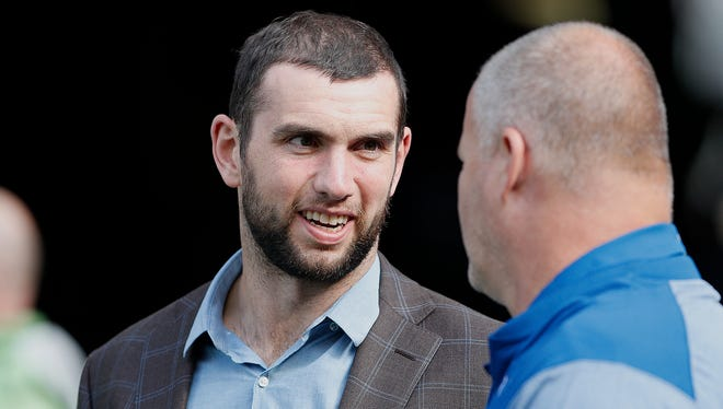 Indianapolis Colts quarterback Andrew Luck (12) before the start of their game at CentryLink Field in Seattle Sunday, Oct 1, 2017.
