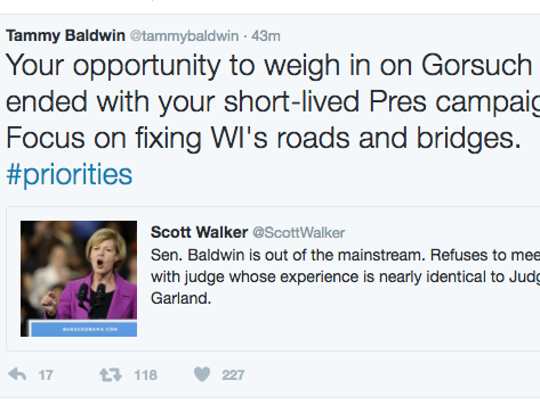 Tweet by U.S. Sen. Tammy Baldwin (D-Wis.) in response to Gov. Scott Walker.