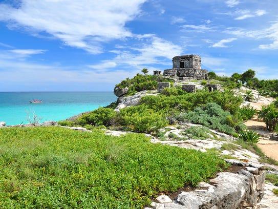 Ancient Mayan ruins can be found at Riviera Maya, Mexico.