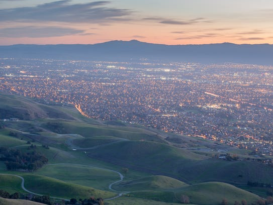 Silicon Valley and Green Hills are shown at Dusk. The