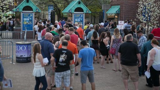 Visitors line up to get into the Detroit Zoo in Royal Oak, May 7, 2015. It is among the areas most popular destinations in metro Detroit.