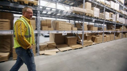 Canton Ikea manager Matt Hunsicker shows where the store expanded 44,000 square feet bringing the total square footage to 355,000 on March 4.