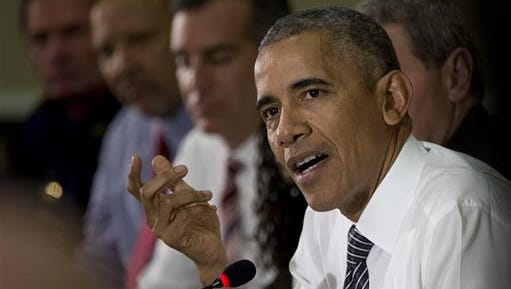 President Barack Obama speaks to media at the bottom of a meeting at the Eisenhower Executive Office Building on the White House complex in Washington, Wednesday, July 13, 2016, about community policing and criminal justice with a group made of activists, civil rights, faith, law enforcement and elected leaders.