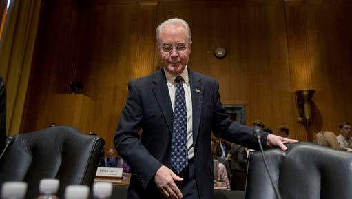 FILE - In this Jan. 24, 2017 file photo, Health and Human Services Secretary-designate, Rep. Tom Price, R-Ga., arrives on Capitol Hill in Washington, Tuesday, Jan. 24, 2017, to testify at his confirmation hearing before the Senate Finance Committee. Republicans on Wednesday muscled through President Donald Trump's nominees for Treasury and Health after the majority GOP suspended committee rules, a power grab in the latest escalation of partisan tensions in Congress.