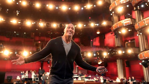 Dwayne Johnson appears during a rehearsal for the 89th Academy Awards on Saturday, Feb. 25, 2017. The Academy Awards will be held at the Dolby Theatre on Sunday.