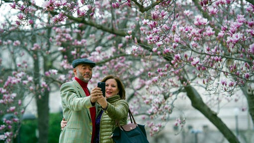 FILE - In this Tuesday, Feb. 28, 2017, file photo, Fidelio Desbradel and his wife, Leonor Desbradel, of the Dominican Republic, take a selfie in front of a Tulip Magnolia tree in Washington. A selfie reveals more than whether it's a good hair day. A company has developed facial analytics technology to help estimate life expectancy by analyzing your face from a photo you upload online. Life insurance companies are interested in the product because it may help them reduce your wait for coverage and boost their sales.