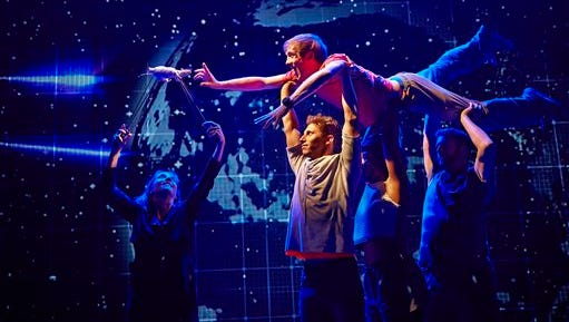 """This image released by Boneau/Bryan-Brown shows the cast during a performance of ?The Curious Incident of the Dog in the Night-Time,"""" in London. The new play by Simon Stephens is adapted from Mark Haddon?s best-selling novel of the same name and is directed by Tony Award-winner Marianne Elliott."""