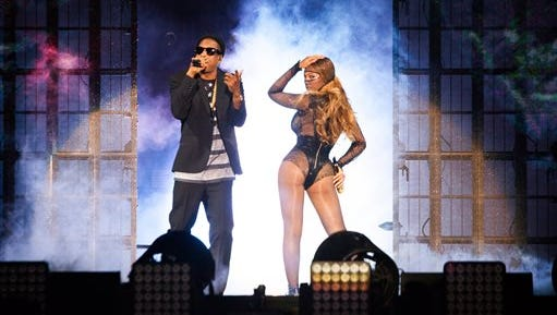 Beyonce and JAY Z perform during the Beyonce and Jay Z - On the Run tour at Stade De France on Friday in Paris, France.