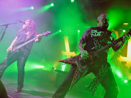 Tom Araya and Kerry King of Slayer perform at Madison
