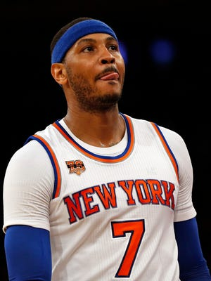 Could New York Knicks forward Carmelo Anthony (7) be traded for Kevin Love?