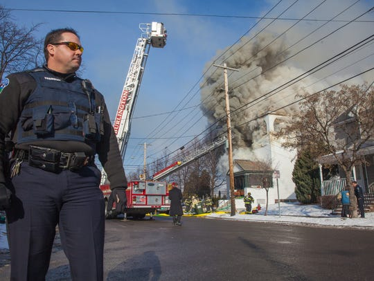 Officer Trombley responds to the scene of a fire at