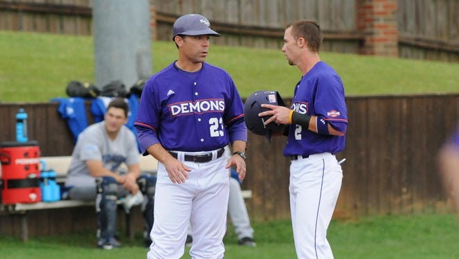 Lane Burroughs (23) left Northwestern State on Monday to become the next head baseball coach at Louisiana Tech.