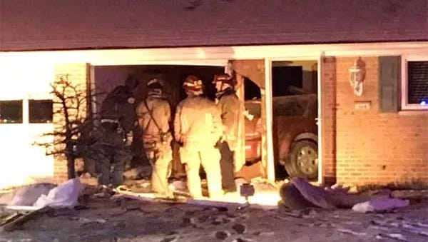 A car crashed into a home in  Springfield Township