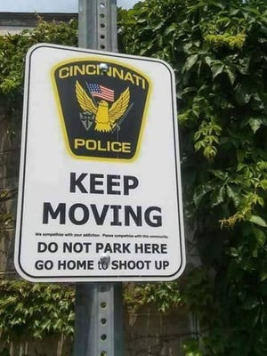 Cincinnati Police say this is not a sign that they created, posted or endorsed and they suspect it's a fake, created by someone who's been posting it. They hope that Facebook will remove the sign.