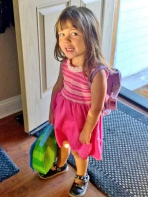 RGJ education reporter Siobhan McAndrew shares a photo of her daughter heading off to preschool on Monday.