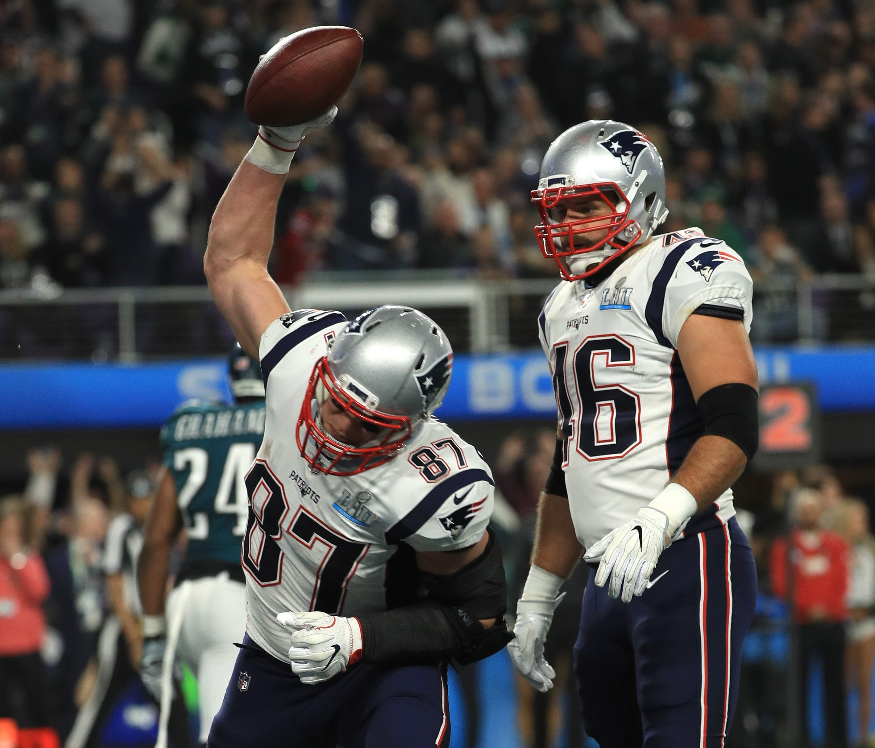 Rob Gronkowski #87 celebrates his 5 yard touchdown reception with James Develin #46 of the New England Patriots against the Philadelphia Eagles during the third quarter in Super Bowl LII at U.S. Bank Stadium on February 4, 2018 in Minneapolis.