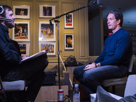 """Filmmaker Joshua Riehl interviews former Red Wings left wing Brendan Shanahan for the documentary """"The Russian Five."""""""