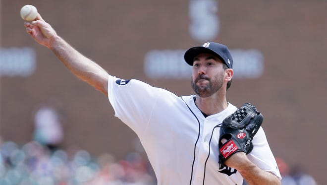Tigers pitcher Justin Verlander throws against the White Sox during the second inning at Comerica Park on June 4, 2017.
