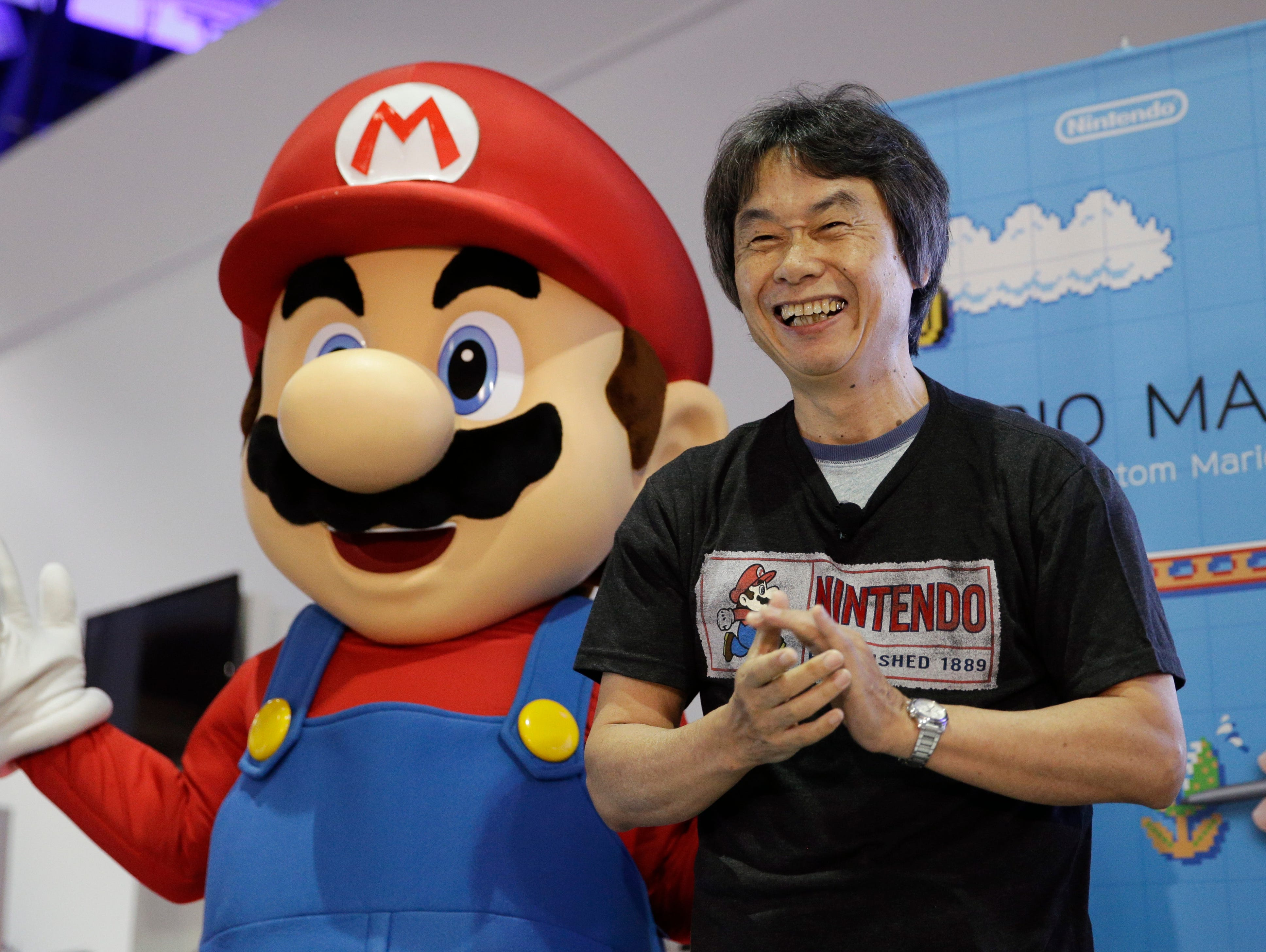 Japanese video game designer  introduces Nintendo's Mario Maker during a press event at the Nintendo booth at the Electronic Entertainment Expo.