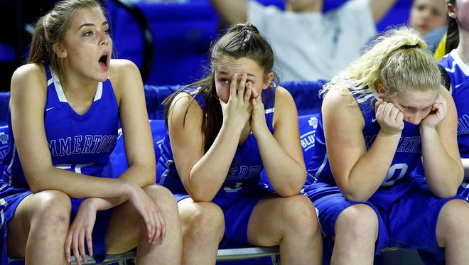 Summertown players wait out the final seconds of the Class A championship game against Greenfield at Middle Tennessee State University's Murphy Center Saturday, March 10, 2018 in Murfreesboro, Tenn. (Photo by Wade Payne, Special to the Tennessean)