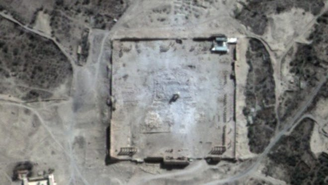 This Monday, Aug. 31, 2015 satellite image provided by UNITAR-UNOSAT shows damage to the main building of the ancient Temple of Bel in the Palmyra, Syria. The main building has been destroyed, a United Nations agency said.