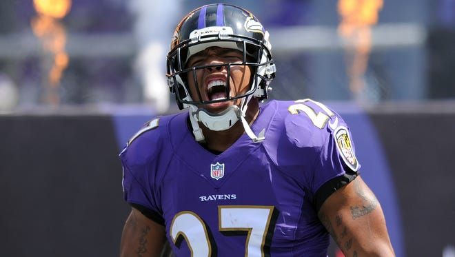 Ravens running back Ray Rice yells during his introduction before a NFL football game.