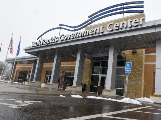 The entrance to the Sauk Rapids Government Center is pictured Monday, April 2, in Sauk Rapids.