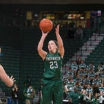 Binghamton University junior guard Kim Albrecht, seen here playing against Mansfield in a November exhibition game, scored a game-high 20 points against UMass Lowell on Saturday.